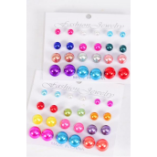 Earrings 15 pair ABS Pearl 6 8 10 12 mm Mix Multi/DZ **Post** Size-10 mm Mix,6 of each Assortment Color Mix,Earring Card & Opp Bag & UPC Code,each Card have 12 pair,12 Card =Dozen,