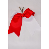 "Hair Bow Extra Jumbo Long Tail Red & White Mix Alligator Clip Grosgrain Bow-tie/DZ **Red & White Mix** Alligator Clip,Size-6.5""x 6"" Wide,Clip Strip & UPC Code"