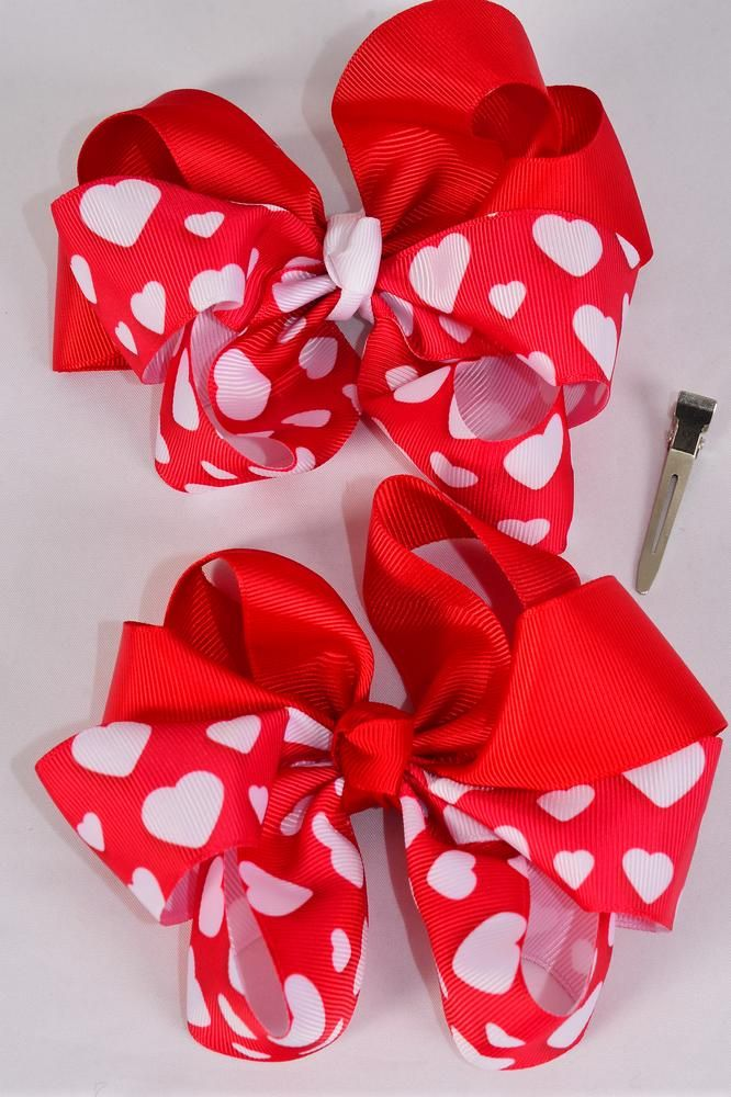 "Hair Bow Jumbo 2 Tone Double Layered  Hearts Grosgrain Bow-tie/DZ **Alligator Clip** Size-6""x 6"" Wide,6 of each Color Asst,Clip Strip & UPC Code"