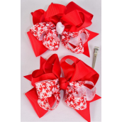"Hair Bow Jumbo 2 Tone Hearts Grosgrain Bow-tie/DZ **Alligator Clip** Size-6""x 6"" Wide,6 of each Color Asst,Clip Strip & UPC Code"