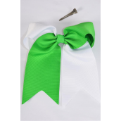 "Hair Bow Extra Jumbo Long Tail Cheer Type Bow 2 Tone Kelly Green White Mix Grosgrain Bow-tie/DZ **Kelly Green White Mix** Alligator Clip,Size-6.5""x 6"" Wide,Clip Strip & UPC Code"