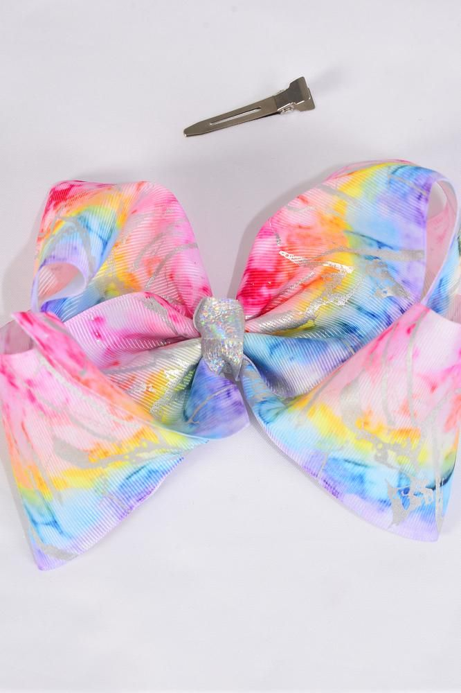 "Hair Bow Jumbo Cheer Type Bow Pastel Rainbow Metallic Grosgrain Bow-tie/DZ **Alligator Clip** Size-8""x 7"" Wide,Clip Strip & UPC Code"
