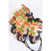 Bracelet Adjustable Real Leather band Coconut Shell Peace & Marijuana Symble mix/DZ **Unisex** Adjustable,2 Pattern Mix,3 of each Pattern Color Asst,Hang tag & OPP Bag & UPC Code -
