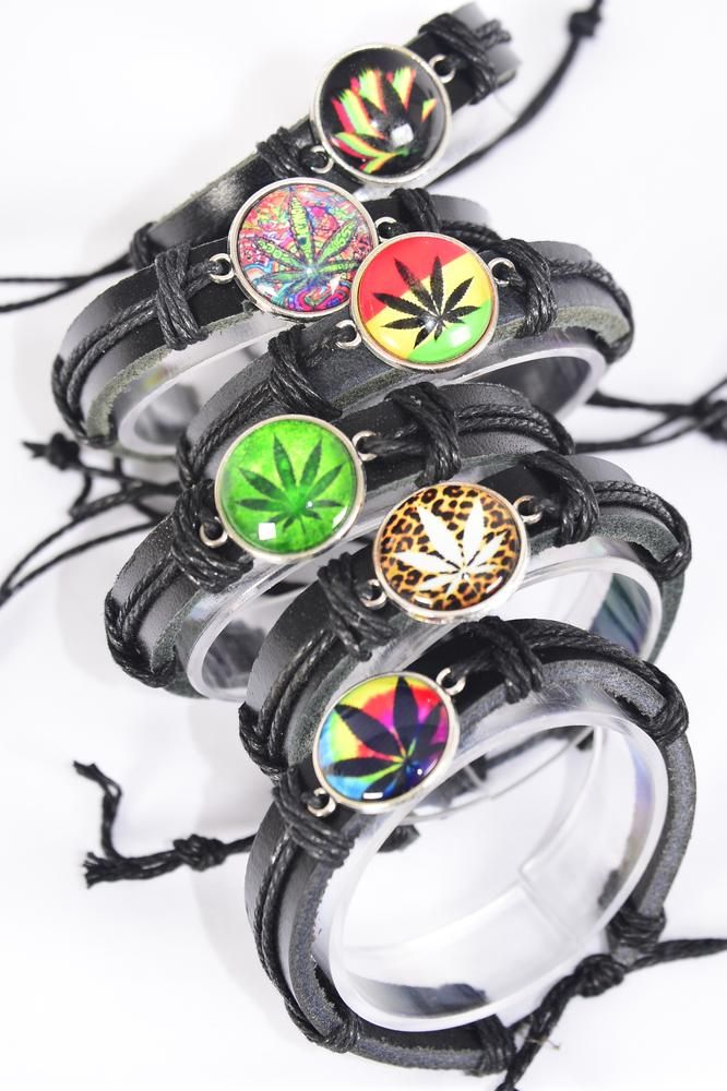Bracelet Real Black Leather Band Glass Dome Cannabis/DZ **Unisex** Adjustable,2 of each Color Asst,Individual Hang tag & OPP Bag & UPC Code