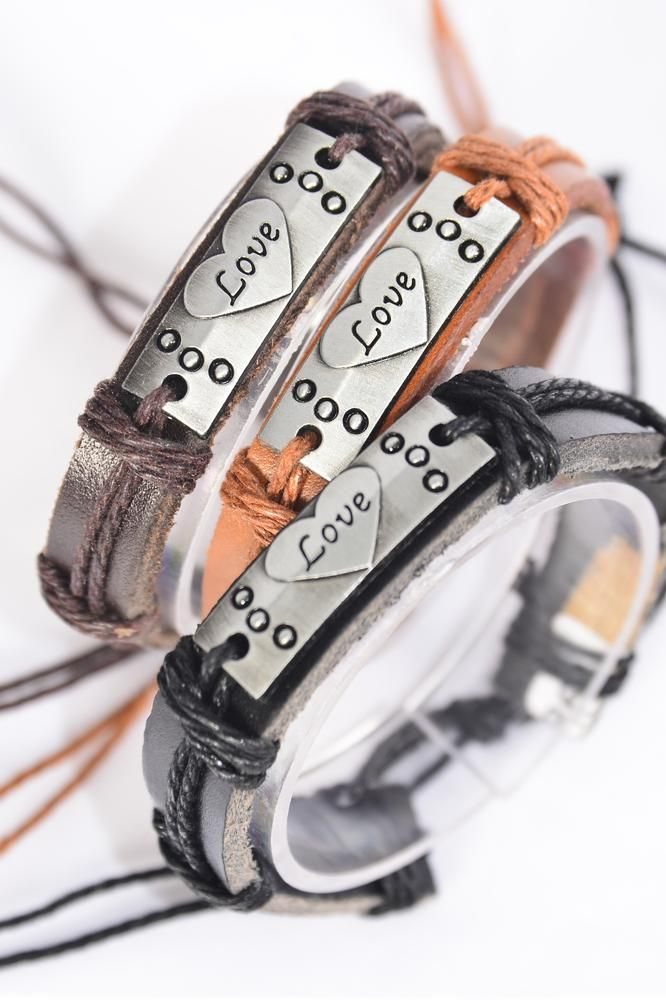 Bracelet Real Leather Band Love/DZ **Unisex** Adjustable,4 of each Color Mix,Individual Hang tag & OPP Bag & UPC Code