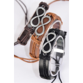 Bracelet Real Leather Band Infinity Symbol/DZ **Unisex** Adjustable,4 of each Color Mix,Individual Hang tag & OPP Bag & UPC Code