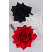"Flower Silk Tea-Rose Large Glitter Trim Red White Black Mix/DZ Size-5"",Alligator Clip & Brooch & Elastic,4 Red,4 White,4 Black,4 of each Color Asst,Hang Tag & UPC Code,W Clear Box"