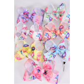"Hair Bow Jumbo Unicorn Dream Catcher Grosgrain Bow-tie/DZ **Pastel** Size-6""x 5"",Alligator Clip,2 White,2 Baby Pink,2 Lavender,2 Blue,2 Yellow,1 Peach,1 Mint Green,7 Color Asst,Clip Strip & UPC Code"