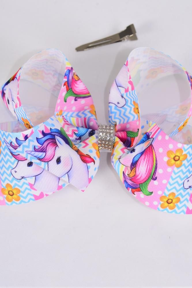 "Hair Bow Jumbo Unicorn Polka-dot Chevron Pattern  Grosgrain Bowtie/DZ **Multi** Alligator Clip,Size-6""x 5"" Wide,Clip Strip & UPC Code"