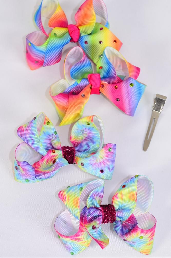 "Hair Bow 24 pcs Rainbow Tiedye Gradient Color Stone Studded Grosgrain Bow-tie/DZ Size-3""x 2"",6 of each Pattern Asst,Clip Strip & UPC Code,12 pair= Dozen (Special Price,Due To Possible Small Imperfections in Ribbon NO Return)"