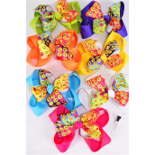 "Hair Bow Jumbo Double Layered Emoji Grosgrain Bow-tie/DZ **Citrus** Size-6""x 6"",Alligator Clip,2 Fuchsia,2 Blue,2 Yellow,2 Purple,2 White,1 Lime,1 Orange,7 Color mix,Clip Strip & UPC Code"