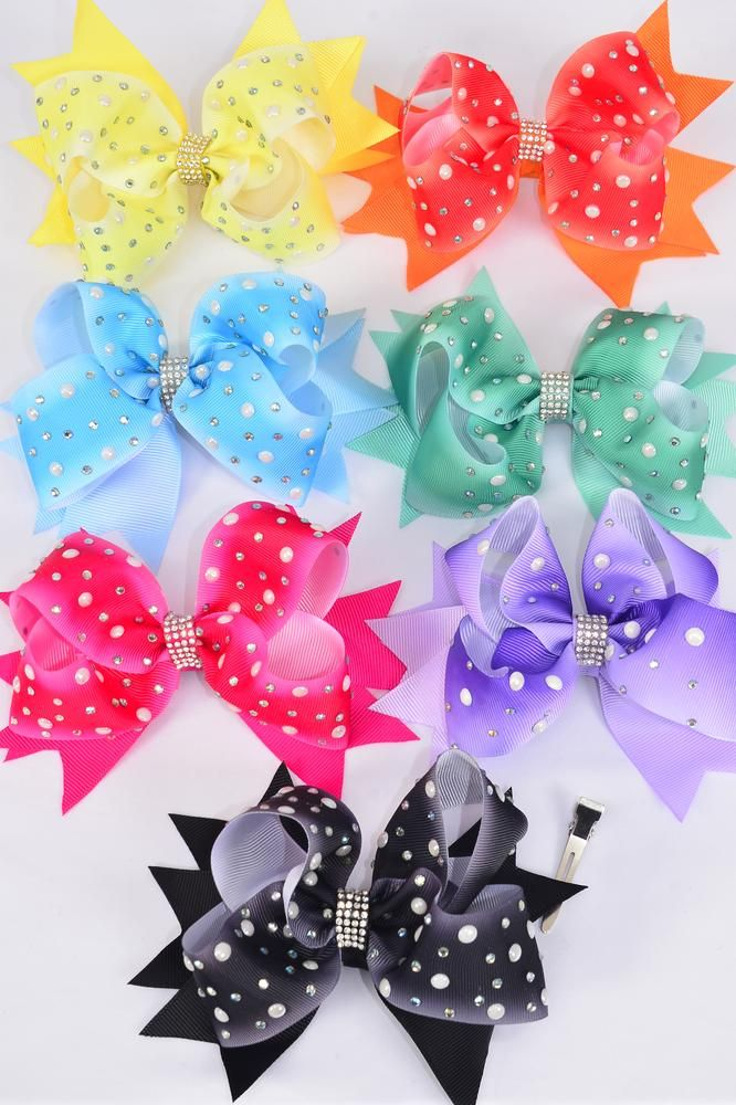 "Hair Bow Jumbo Double Layered Gradient Pearl Studed Grosgrain Bowtie/DZ **Multi** Size-6""x 6"" Wide,Alligator Clip,2 Fuchsia,2 Blue,2 Yellow,2 Purple,2 Black,1 Lime,1 Orange,7 Color Asst,Clip Strip & UPC Code"