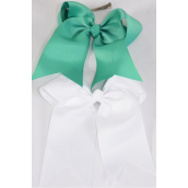 "Hair Bow Extra Jumbo Long Tail Cheer Type Bow Seafoam & White Mix Grosgrain Bow-tie/DZ **Seafoam & White Mix** Alligator Clip,Size-6.5x 6"" Wide,6 of each Color Asst,Clip Strip & UPC Code"