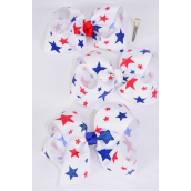 "Hair Bow Jumbo Patriotic-Glitter Stars Grosgrain Bow-tie/DZ **Alligator Clip** Size-6""x 5"" Wide,4 of each Color Asst,Clip Strip & UPC Code"