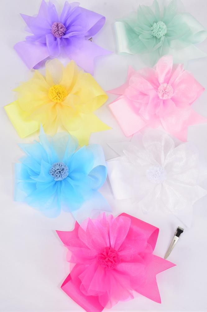 "Hair Bow Double Layered Chiffon Center Pom Pom Ball Pastel Grosgrain Bow/DZ **Pastel** Size-6""x 6"",Alligator Clip,2 White,2 Baby Pink,2 Lavender,1Blue,1Yellow,2 Hot Pink,2 Mint Green,7 Color Asst,Clear Strip & UPC Code"