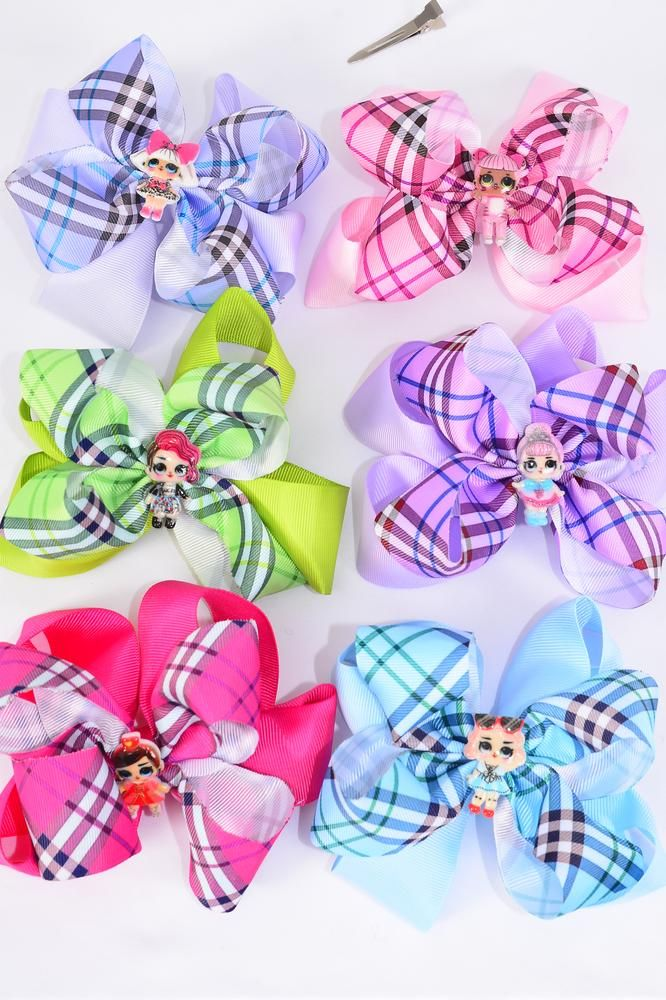 "Hair Bow Jumbo Double Layered Gingham Fun Girl Charms Multi/DZ **Multi** Alligator Clip,Size-6""x 6"" Wide,2 Of each Color Asst,Clip Strip & UPC Code"