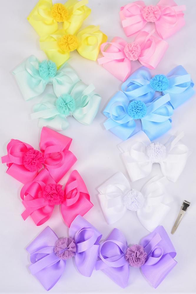 "Hair Bow 24 pcs Center Pom Pom Ball Pastel Grosgrain Bowtie/DZ **Pastel** Size-3.5""x 3.5"",Alligator Clip,2 White,2 Baby Pink,2 Lavender,2 Blue,2 Yellow,1 Hot Pink,1 Mint Green,7 Color Asst,Clear Strip & UPC Code"