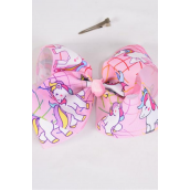"Hair Bow Jumbo Cheer Type Bow Unicorn Pink Grosgrain Bow-tie/DZ **Pink** Alligator Clip** Size-8""x 7"" Wide,Clip Strip & UPC Code"