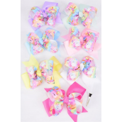 "Hair Bow Jumbo Triple Layered Unicorn Pastel Grosgrain Bow-tie/DZ **Pastel** Alligator Clip,Size-6""x 5"" Wide,2 White,2 Pink,2 Lavender,2 Hot Pink,2 Mint Green,1 Blue,1 Yellow Mix,Clip Strip & UPC Code"