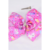 "Hair Bow Extra Jumbo Cheer Type Bow Unicorn Bubblegum Pink Grosgrain Bow-tie/DZ **Alligator Clip** Size-8""x 7"" Wide,Clip Strip & UPC Code"