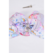"Hair Bow Extra Jumbo Cheer Type Bow Baby Unicorn Pastel Rainbow Grosgrain Bow-tie/DZ **Alligator Clip** Size-8""x 7"" Wide,Clip Strip & UPC Code"