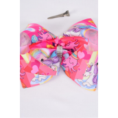 "Hair Bow Extra Jumbo Cheer Type Bow Mermaid & Baby Unicorn Grosgrain Bow-tie/DZ **Alligator Clip** Size-8""x 7"" Wide,Clip Strip & UPC Code"