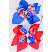 "Hair Bow Jumbo Double Layered Patriotic-Flag Grograin Bowtie/DZ **Alligator Clip** Bow-6""x 6"" Wide,6 Of Ech Color Asst,Clip Strip & UPC Code"