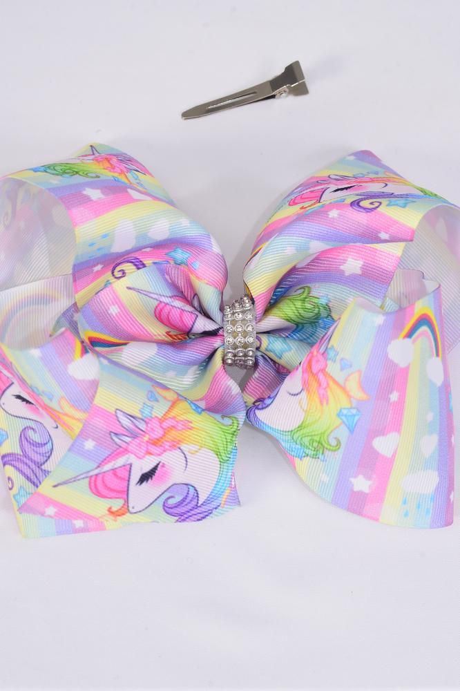 "Hair Bow Extra Jumbo Cheer Type Bow Unicorn Pastel Grosgrain Bow-tie/DZ **Alligator Clip** Size-8""x 7"" Wide,Clip Strip & UPC Code"