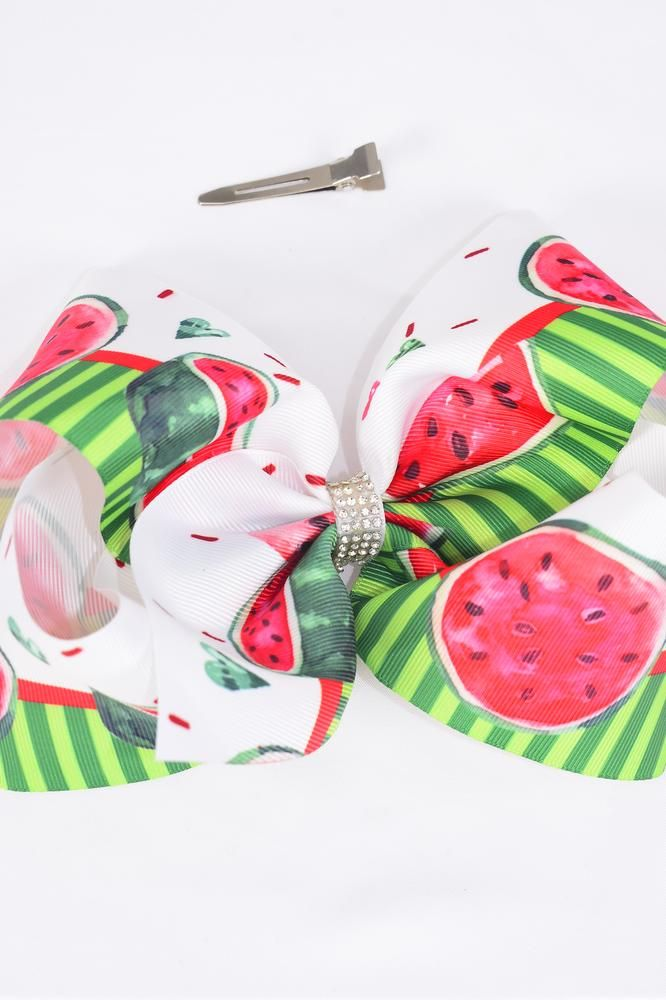"Hair Bow Jumbo Watermelon Grosgrain Bow-tie/DZ **Alligator Clip** Size-6""x 5"" Wide,Clip Strip & UPC Code"