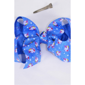 "Hair Bow Jumbo Denim Print Unicorn Bowtie Grosgrain Bow-tie/DZ **Alligator Clip** Size-6""x 5"" Wide,Clip Strip & UPC Code"