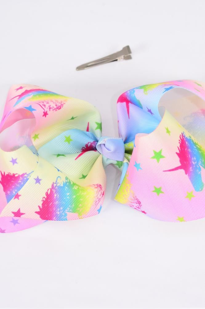 "Hair Bow Jumbo Cheer Type Bow Tiedye Unicorn Grosgrain Bow-tie/DZ **Alligator Clip** Size-8""x 7"" Wide,Clip Strip & UPC Code"