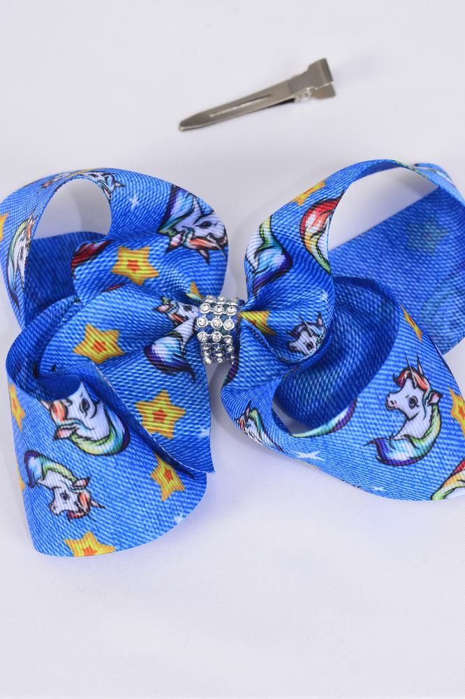 "Hair Bow Jumbo Denim Print Unicorn Bowtie Unicorn Stars Grosgrain Bow-tie/DZ **Alligator Clip** Size-6""x 5"" Wide,Clip Strip & UPC Code"