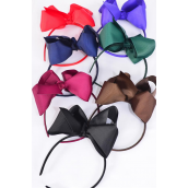 "Headband Jumbo Grosgrain Bow-tie Drak Multi/DZ **Dark Multi** Bow Size-6""x 5"" Wide,2 Black,2 Navy,2 Brown,2 Burgundy, 2 Hunter Green,1 Purple,1 Gray Asst,Hang Tag & UPC Code,Clear Box"