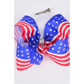 "Hair Bow Jumbo Cheer Type Bow Patriotic Stars & Stripes Grosgrain Bow-tie/DZ **Alligator Clip** Size-8""x 7"" Wide,Clip Strip & UPC Code"