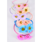 Headband Horseshoe Flowers Pastel/DZ **Pastel** 2 of each Color Asst,Hang tag & UPC Code, Clear Box