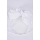 "Headband Horseshoe Grosgrain Bow-tie White/DZ **White** Bow Size-6""x 5"" Wide,Hang Tag & UPC Code,Clear Box"