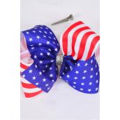 "Hair Bow Extra Jumbo Cheer Type Bow Patriotic Stars & Stripes Grosgrain Bow-tie/DZ **Alligator Clip** Size-8""x 7"" Wide,Clip Strip & UPC Code"