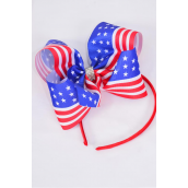"Headband Horseshoe Jumbo Patriotic-Flag Grosgrain Bow-tie/DZ Bow Size-6""x 5"" Wide,Headband Color-4 Red,4 White,4 Royal Blue Asst,Hang Tag & OPP Bag"