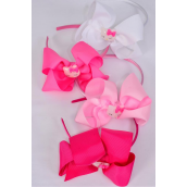 "Headband Horseshoe Jumbo Kitty Charm Grosgrain Bow-tie Pink Mix/DZ **Pink Mix** Bow Size-6""x 5"" Wide,3 of each Color Asst,Display Card & UPC Code,Clear Box"