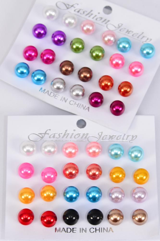 Earrings 12 Pair 10 mm ABS Pearl Mix Multi/DZ **Post** Multi Size-10 mm,6 of each Assortment Mix,Earring Card & OPP Bag