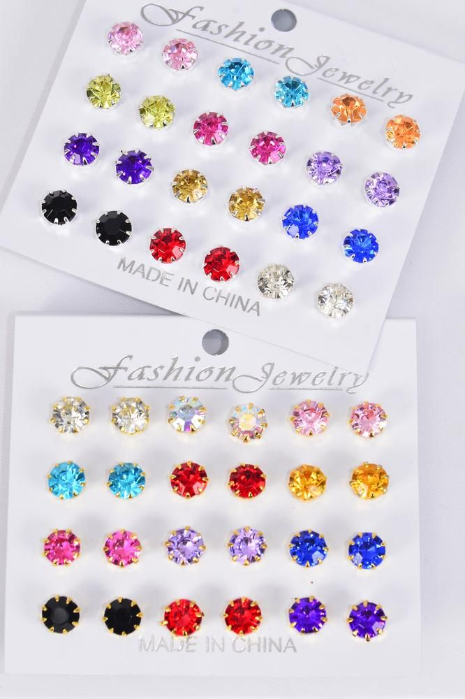 Earrings 12 pair Acrylic Color Stone Multi/DZ **Post** Multi,Size-10 mm,6 Silver,6 Gold Asst,each Card have 12 pair Studs,12 Card =Dozen,Earring Card & Opp Bag & UPC Code -