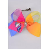 "Hair Bow Jumbo Rainbow Tiedye Gradient Unicorn Center Clear Stones Grosgrain Bow-tie/DZ **Alligator Clip** Size-6""x 5"" Wide,Clip Strip & UPC Code"