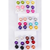Earrings Multi 6 Pair 14 mm ABS Pearl Mix Multi/DZ **Multi** Post,Size-14 mm,4 of each Color Asst,Earring Card & OPP Bag & UPC Code,6 Pair Per Card,12 Card= DZ