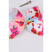 "Hair Bow Jumbo Rainbow Santa Shark & Friends Grosgrain Bow-tie/DZ **Alligator Clip** Size-6""x 5"" Wide,Clip Strip & UPC Code"