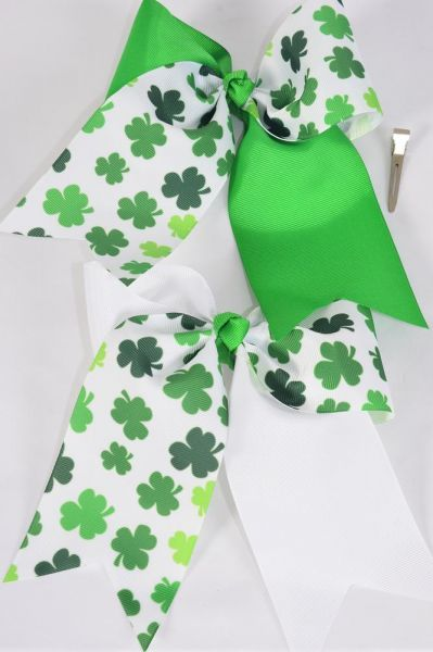 "Hair Bow Extra Jumbo Cheer Bow Type Long Tail 2 Tone Shamrock Grosgrain Bow-tie/DZ **Alligator Clip** Size-7""x 6"",6 Of each Color Asst,Clip Strip & UPC Code"