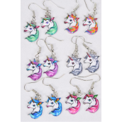 Earrings Flamingo Enamel Color Asst/DZ **Multi** Fish Hook, 2 Of each Color Asst,Earring Card & OPP Bag & UPC Code