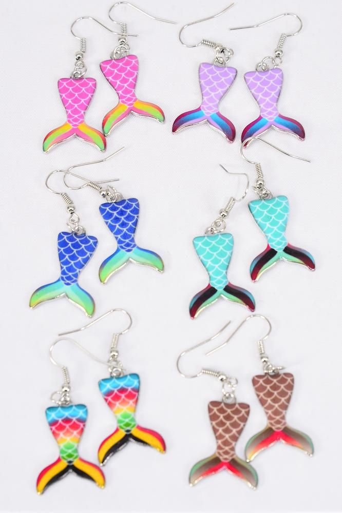 Earrings Mermaid Tail Enamel Color Asst/DZ **Multi** Fish Hook, 2 Of each Color Asst,Earring Card & OPP Bag & UPC Code