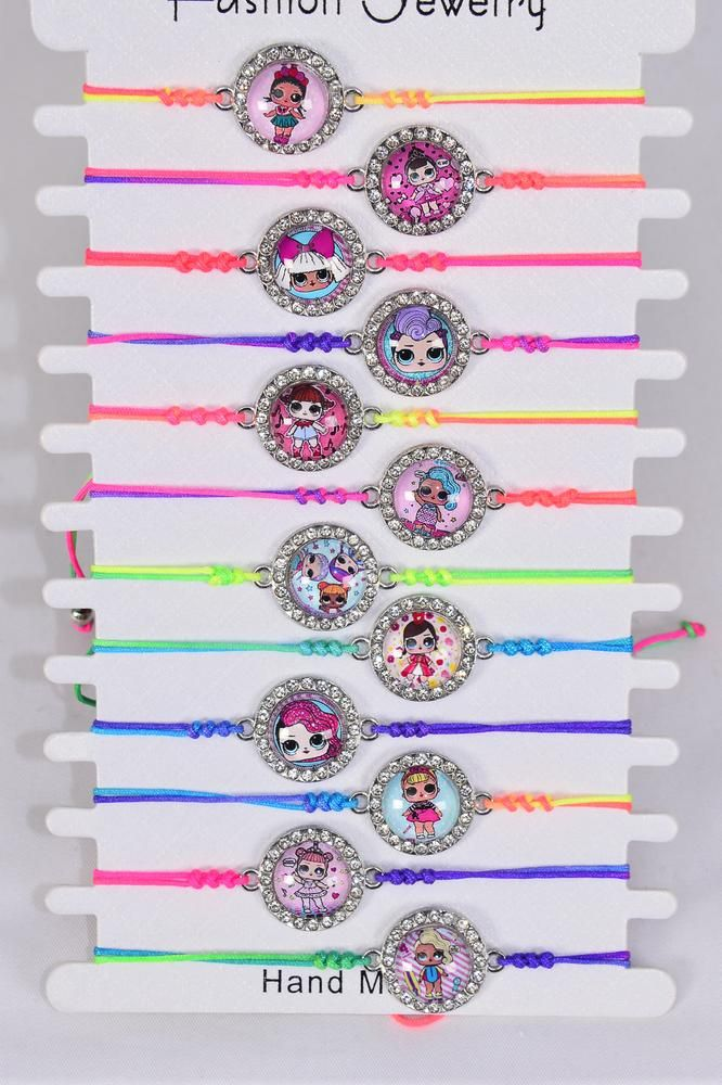 Bracelet Fun Girl Tiedye Strings Multi/DZ **Multi** Pull String,Adjustable, 1 of each Fun Girl Asst, 12 Colors Mix,Individual Hang tag & OPP Bag & UPC Code
