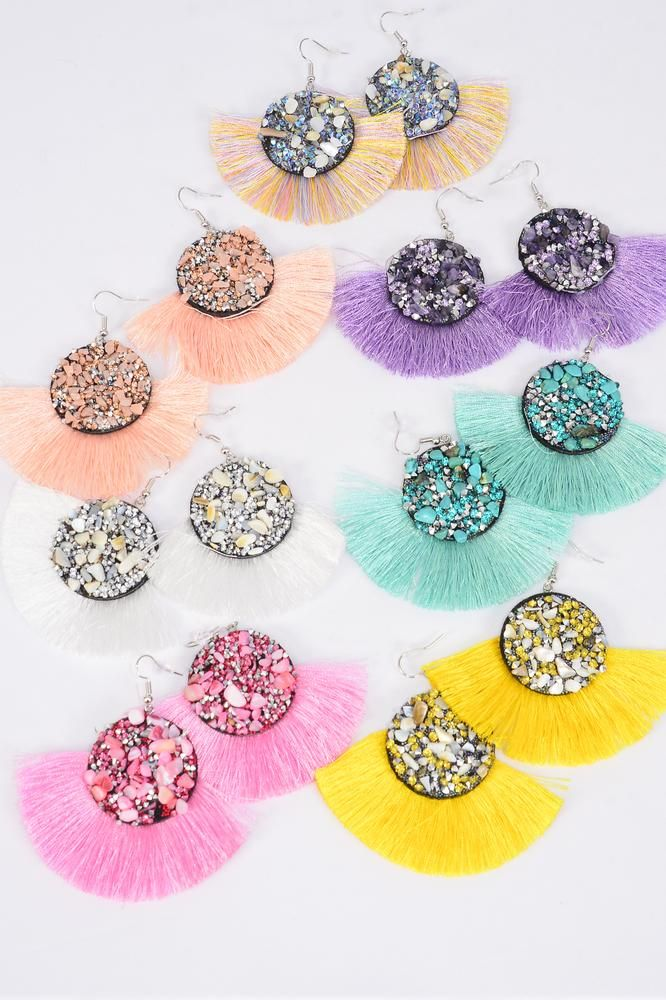 "Earrings Fringe Tassels Pastel/DZ **Fish Hook** Size-3""x 2.5"" Wide,2 Multi,2 Pink,2 White, 2 Lavender,2 Yellow,1 Peach,1 Mint Green Mix,Earring Card & OPP Bag & UPC Code"