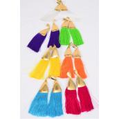 """Earrings Fringe Tassels Citrus Gold/DZ **Post** Size-4""""x 2"""" Wide,2 Fuchsia,2 Turquoise,2 White, 2 Purple,2 Yelloe,1 Orange,1 Lime Asst,Earring Card & OPP Bag & UPC Code"""